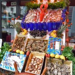 Seafood display on Rue des Boucher, Brussels, Belgium